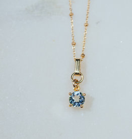SENNOD Blue Topaz on Adjustable Chain 16-18""