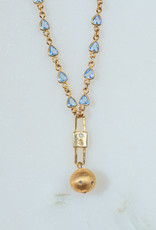 """SENNOD TRUNK SHOW Blue Topaz with Keyhole and Ball Necklace 16-18"""""""