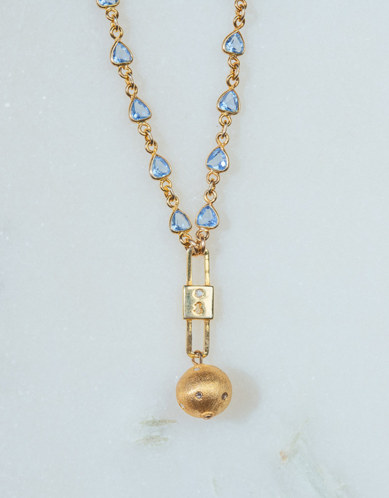 """SENNOD Blue Topaz with Keyhole and Ball Necklace 16-18"""""""