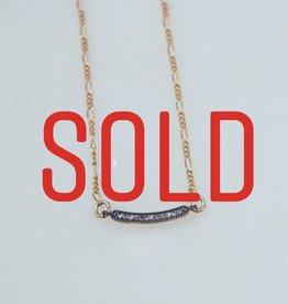 "SENNOD TRUNK SHOW 16"" Diamond Gunmetal Bar Necklace"