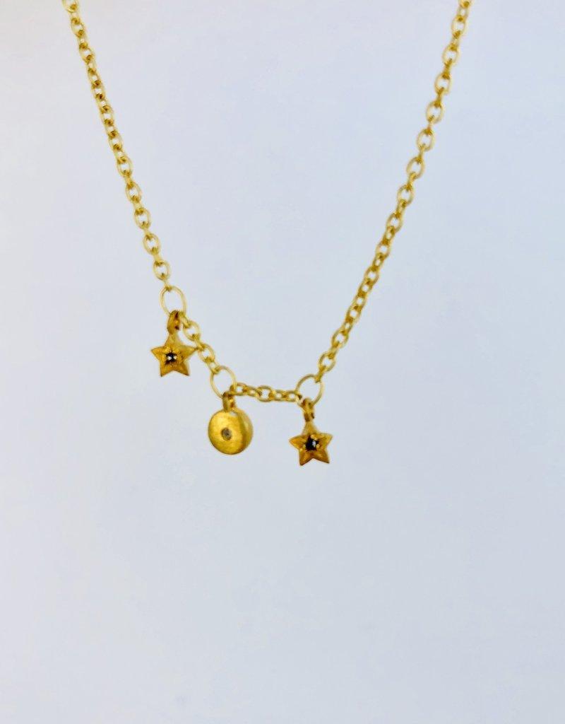 "SENNOD Triple Dangle Charm 18"" Necklace"