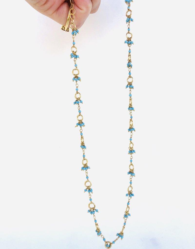"SENNOD Turquoise Dangle Cluster Necklace 16-18"""