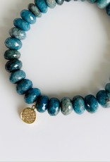 SYDNEY EVAN Chrysocolla & Diamond Disc Bracelet
