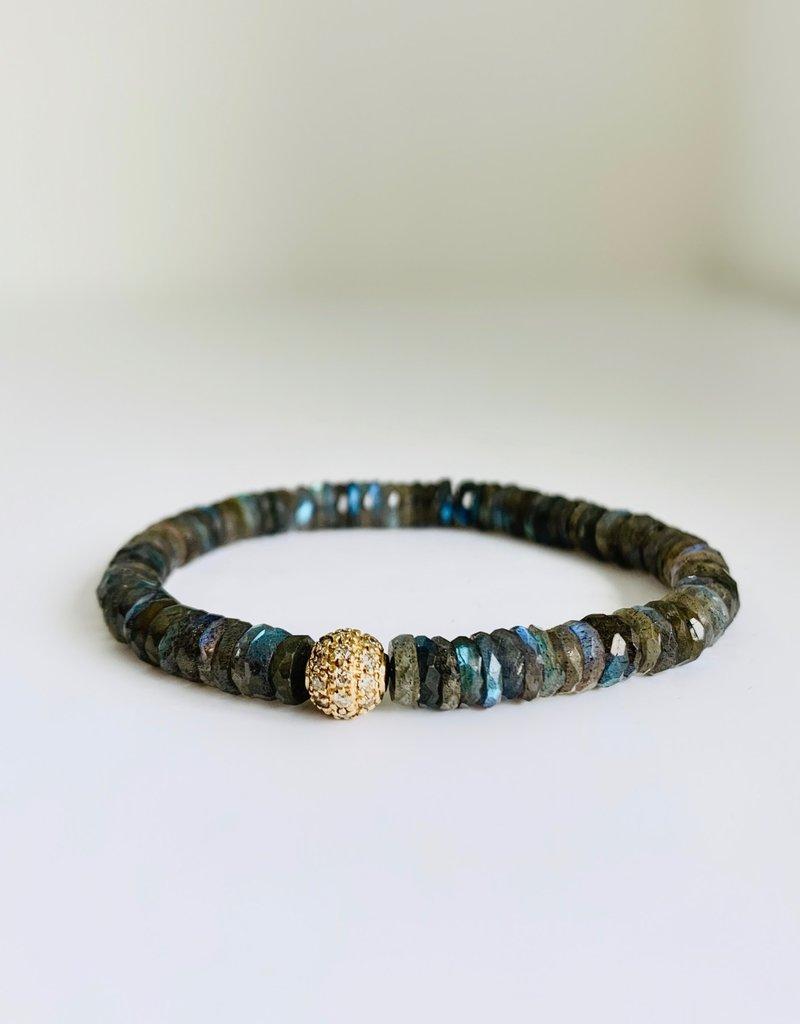 SYDNEY EVAN Labradorite & Pave Ball Bracelet