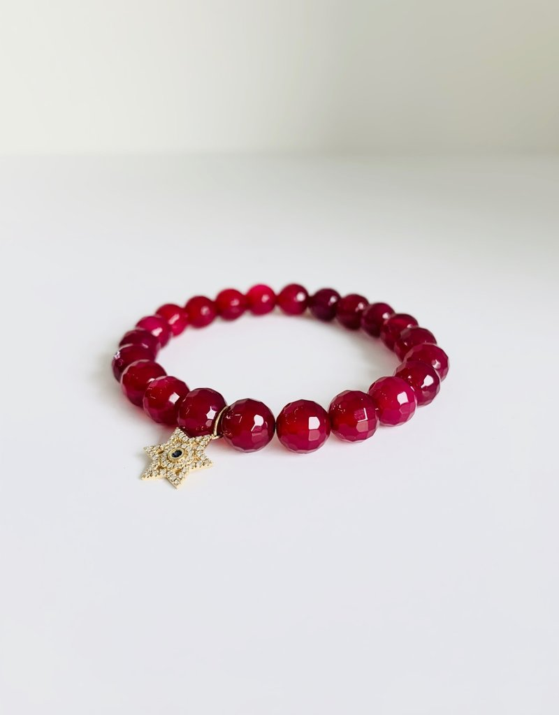 SYDNEY EVAN Natural Ruby & Star of David Bracelet