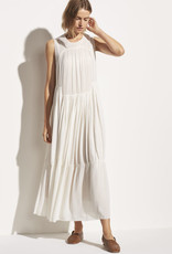 VINCE Shirred Sleeveless Dress - Of f White