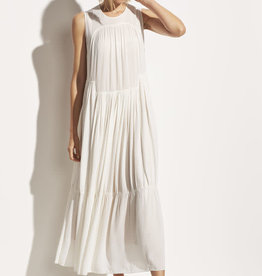 VINCE Shirred Sleeveless Dress - Off White