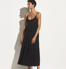 VINCE Gathered Knit Cami Dress - Black