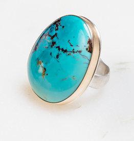 JAMIE JOSEPH Vertical Asymmetrical Royston Turquoise Ring