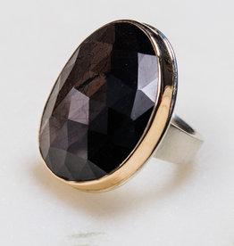 JAMIE JOSEPH Vertical Asymmetrical Brown Sapphire Ring