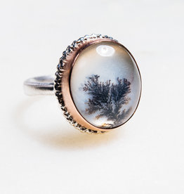 JAMIE JOSEPH Vertical Oval Dendritic Agate Ring