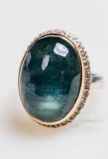 JAMIE JOSEPH Vertical Oval Moss Aquamarine Ring