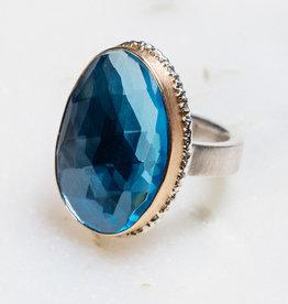 JAMIE JOSEPH Vertical Asymmetrical Sky Blue Topaz Ring