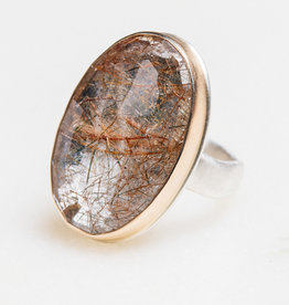 JAMIE JOSEPH Vertical Oval Golden Rutilated Quartz Ring