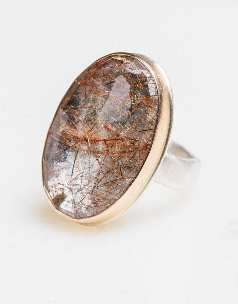 JAMIE JOSEPH Vertical Oval Golden Rutilated Quartz Ring