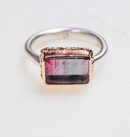 JAMIE JOSEPH Rectangular Watermelon Tourmaline Ring