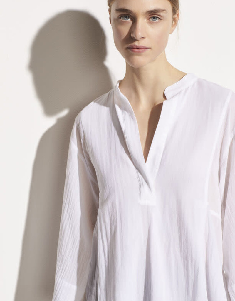 VINCE Lightweight Paneled Pullover Top - Optic White