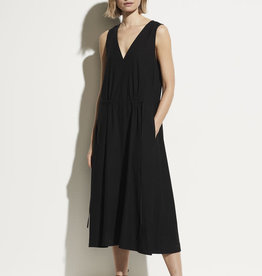 VINCE Drawstring V-neck Dress - Black