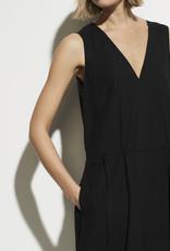 VINCE Drawstring V-neck Dress - Black