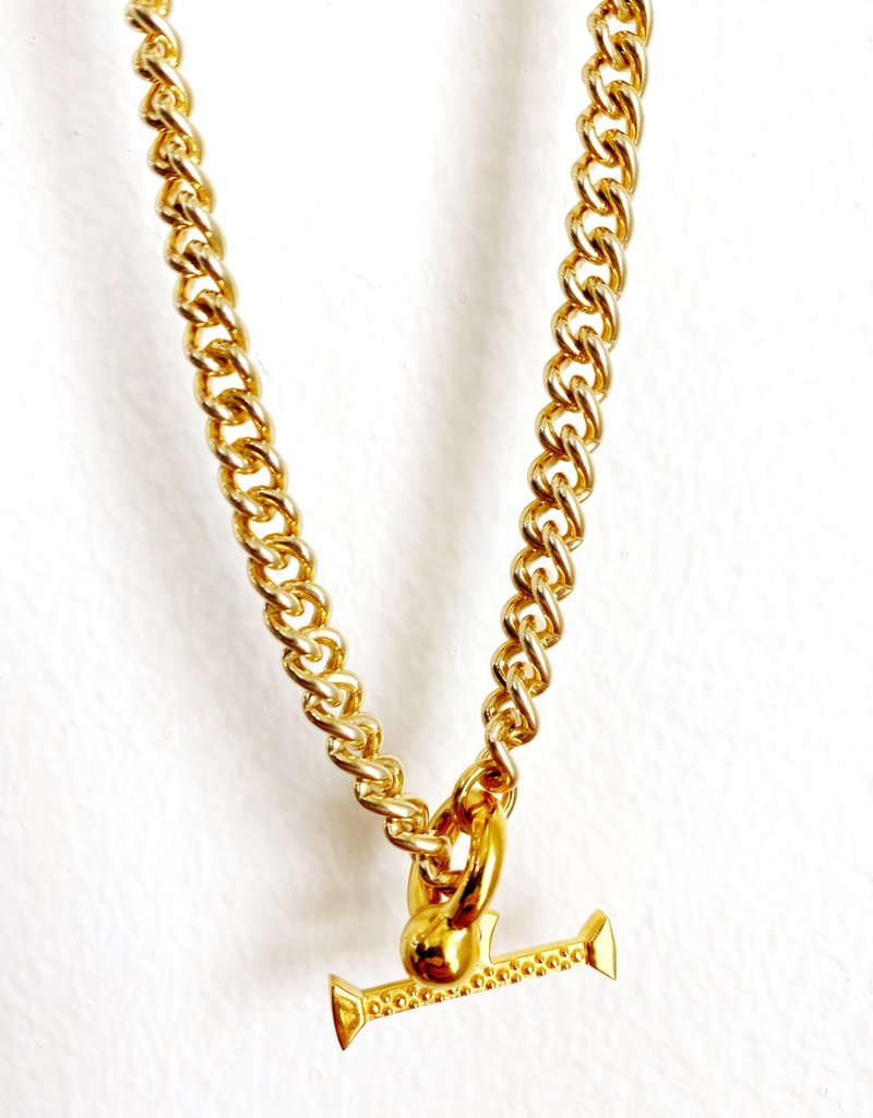 """SENNOD Curb Chain with Kettle Bellring + Pebble Bar - 20"""" Necklace"""