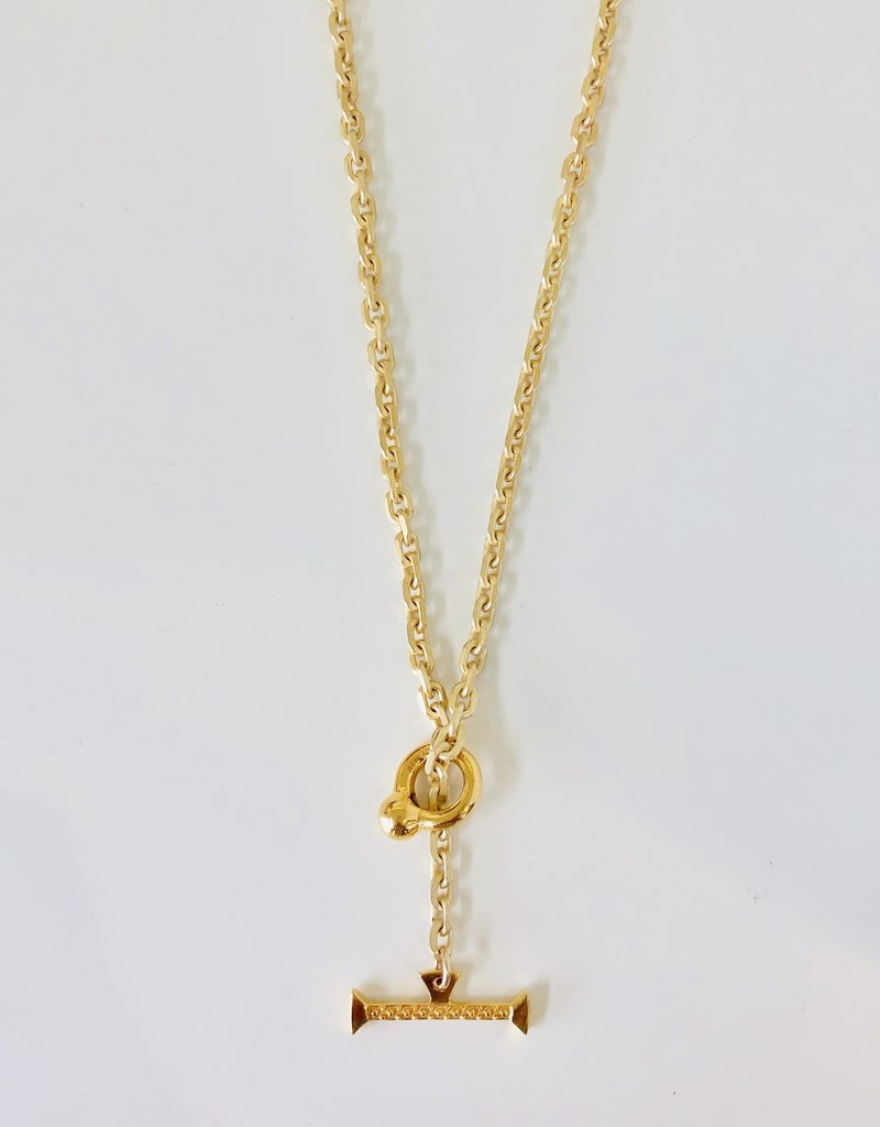 """SENNOD Italian Chain with Kettle Bellring + Pebble Bar - 20"""" Necklace"""
