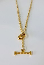 "SENNOD Italian Chain with Kettle Bellring + Pebble Bar - 22"" Necklace"