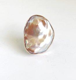JAMIE JOSEPH Large Asymmetrical Pink Pearl Ring