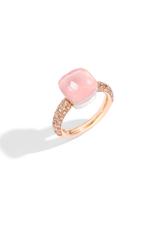 POMELLATO Nudo Rose Quartz Classic Ring with Chalcedony and Brown Diamonds