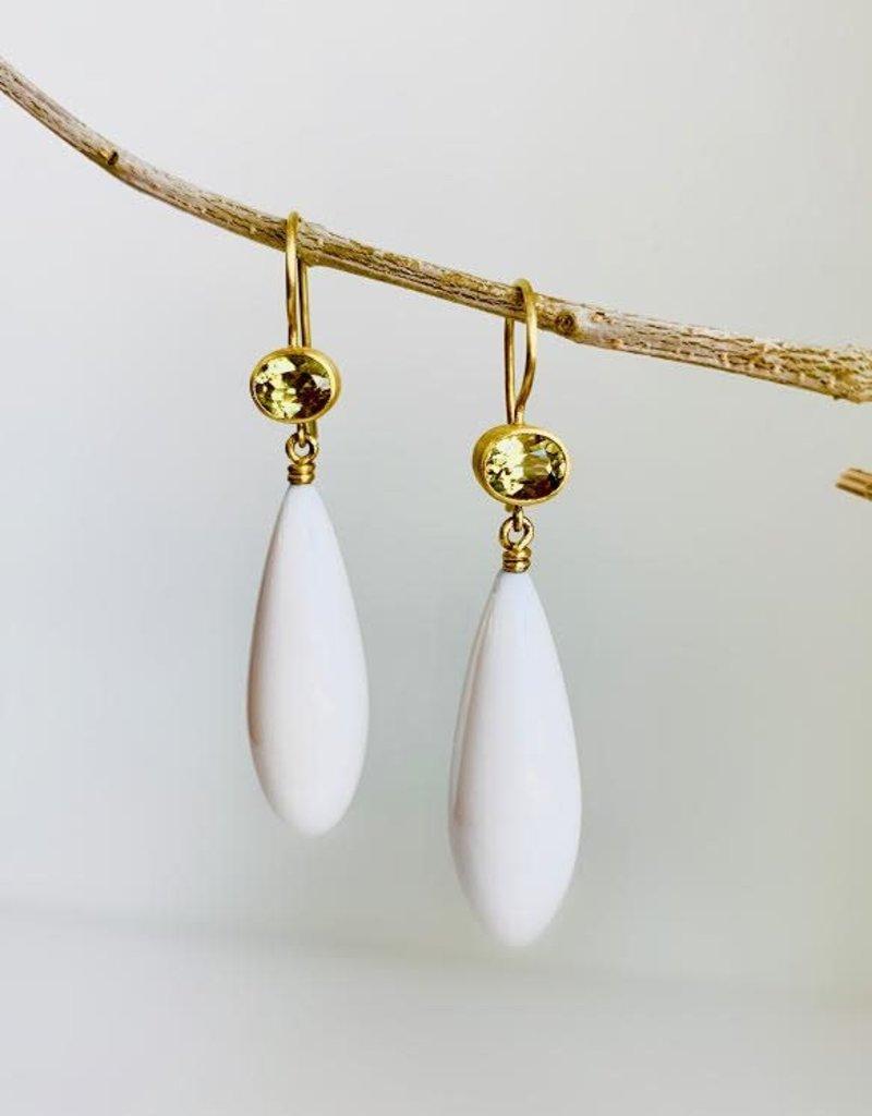 MALLARY MARKS Apple & Eve - Yellow Mali Garnet with White Opal Teardrop Earrings