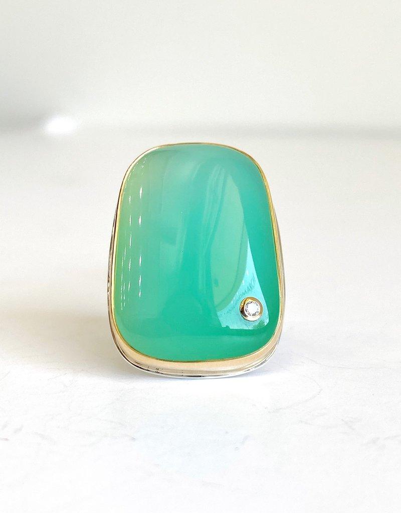 JAMIE JOSEPH Smooth Chrysoprase Ring with Diamond