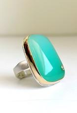 JAMIE JOSEPH Smooth Chrysoprase and Diamond Ring