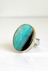 JAMIE JOSEPH Vertical Oval Blue Indonesian Fossilized Opalized Wood Ring