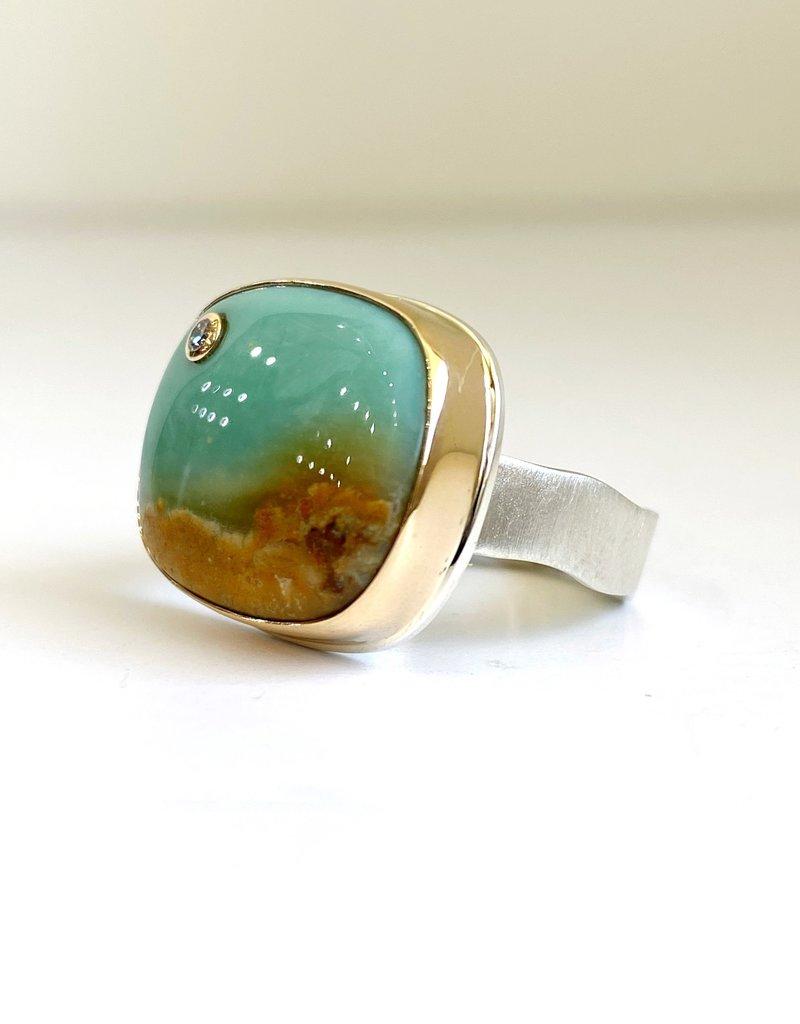 JAMIE JOSEPH Rectangular Blue Indonesian Fossilized Opalized Wood Ring with Diamond