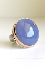 JAMIE JOSEPH Blue Chalcedony Ring with Diamond