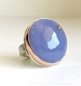 JAMIE JOSEPH Blue Chalcedony Ring with Diamond