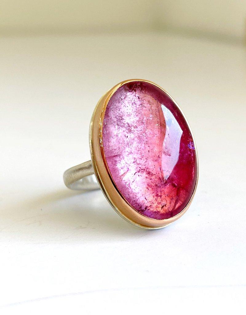 JAMIE JOSEPH Oval Smooth Pink Tourmaline Ring