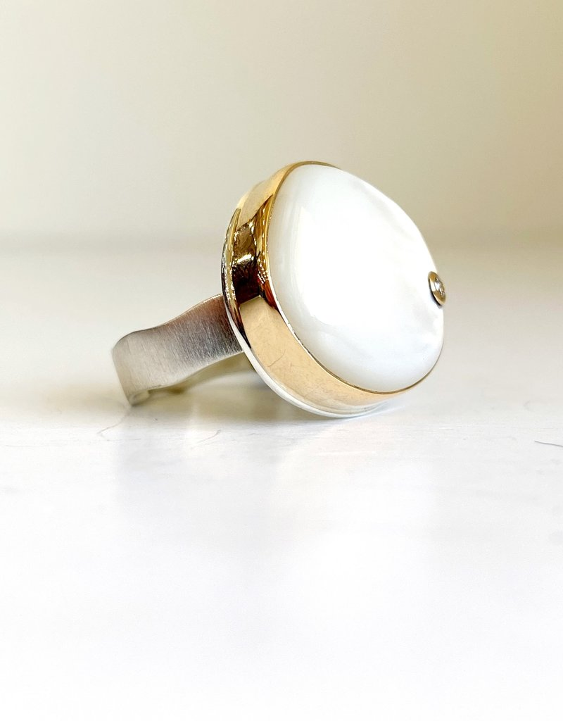 JAMIE JOSEPH Smooth Asymmetrical Mother of Pearl and Diamond Ring