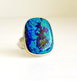 JAMIE JOSEPH Rectangle Chrysocolla, Azurite & Malachite Ring