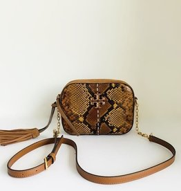 TORY BURCH Mcgraw Exotic Camera Bag - Dark Caramel Snake