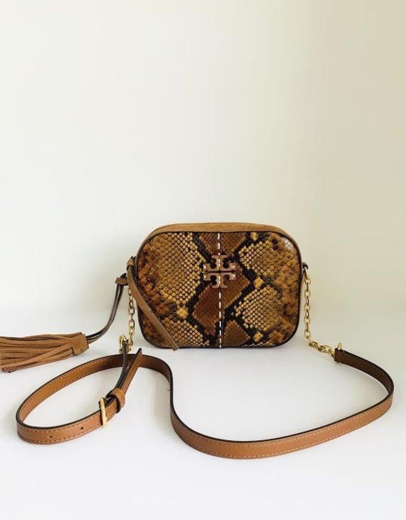TORY BURCH Mcgraw Exotic Camera Bag - Dark Caramel Snake
