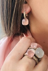 POMELLATO Nudo Rose Quartz Earrings with Chalcedony and Brown Diamonds