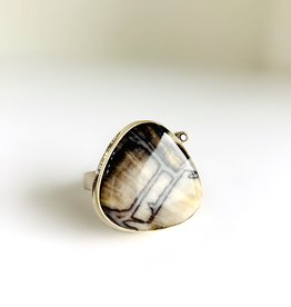 JAMIE JOSEPH Fossilized Channel Wood Ring with Black Diamond