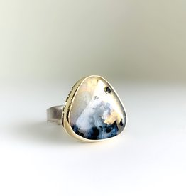 JAMIE JOSEPH Triangular Dendritic Opal Ring with Black Diamond