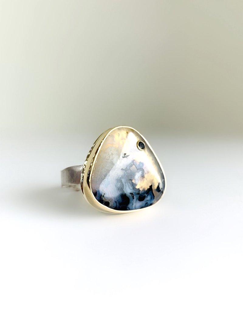 JAMIE JOSEPH Triangular Dendritic Opal Ring with Black Diamond