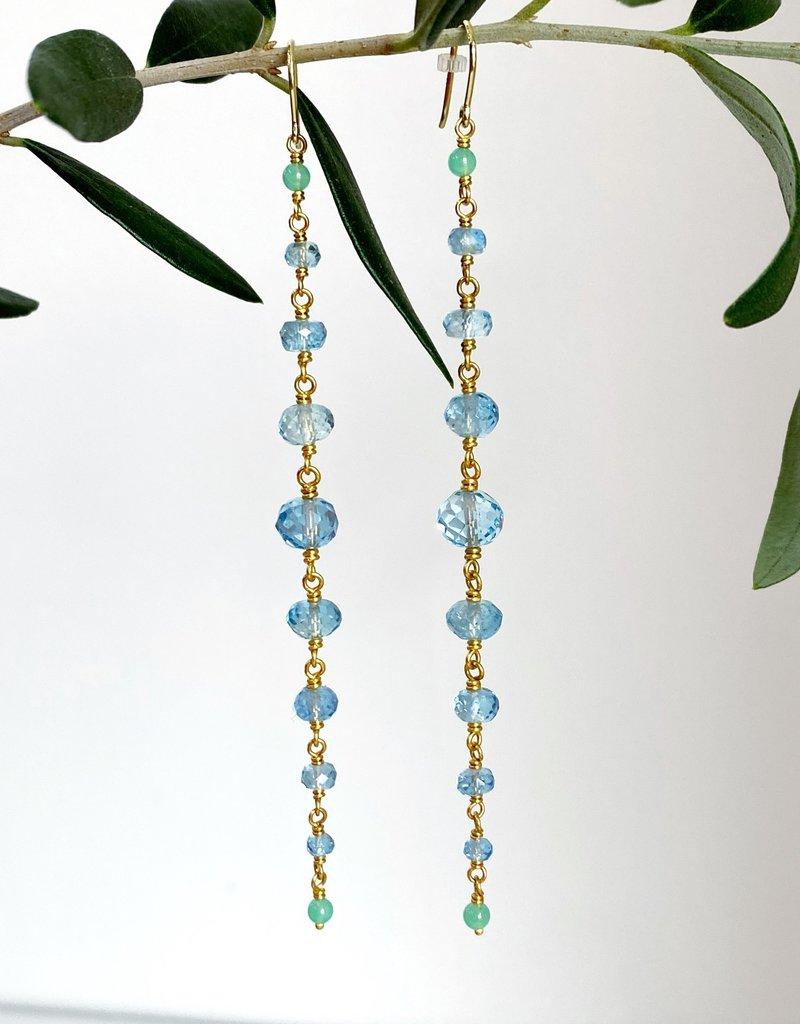 MALLARY MARKS Spun Sugar Earring - Chrysoprase and Aqua Beads
