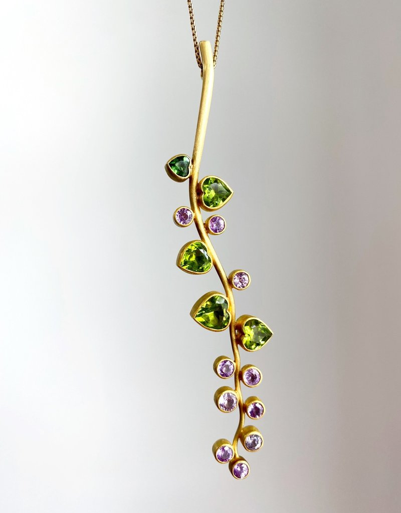 MALLARY MARKS Pink Sapphire Vine Pendant with Peridot Leaves Necklace