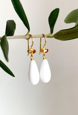 MALLARY MARKS Apple & Eve - Yellow Orange Sapphire & White Onyx Drop Earrings