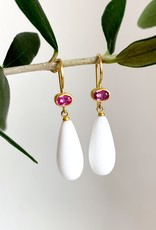 MALLARY MARKS Apple & Eve - Pink Sapphire & White Onyx Drop Earrings