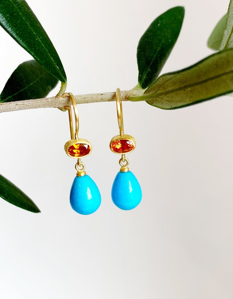 MALLARY MARKS Apple & Eve - Orange Sapphire & Turquoise Drop Earrings