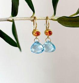 MALLARY MARKS Apple & Eve - Light Orange Mandarin with Sapphire Aqua Earrings